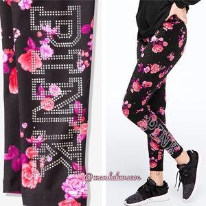 NEW💕VS PINK BLACK FLORAL BLING COTTON LEGGINGS